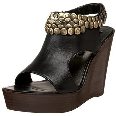 STEVEN by Steve Madden Women's Hanley Wedge Sandal,Black Leather,4.5 M US