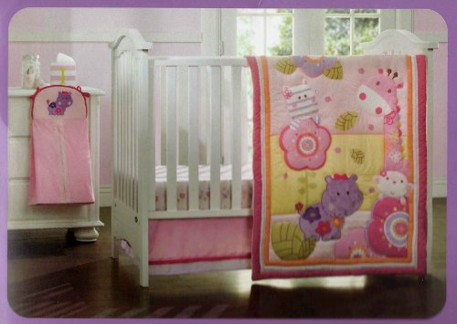 Kidsline Girly Girl Jungle Crib Set - 4pc - 1