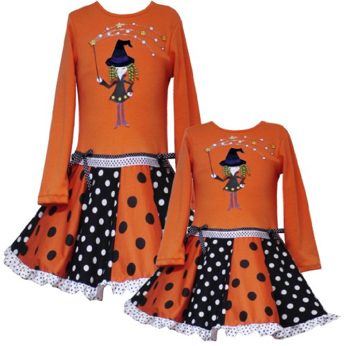 Rare Editions Little Girls 4-6X ORANGE BLACK WHITE POLKA DOT DROP WAIST Magic Witch Applique Halloween Girl Party Dress-5-RRE-38590F-F338590