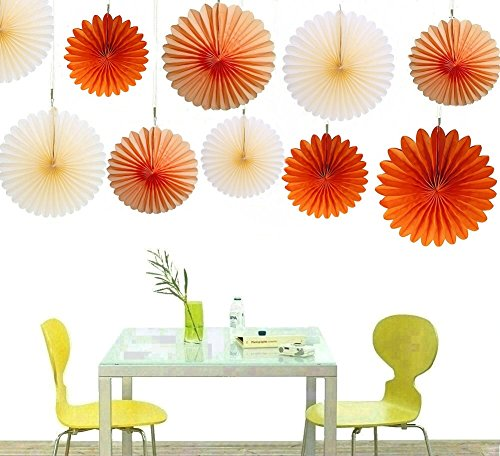 Zorpia® Decorative Fan - Tissue Paper Fan Collection - 12 Assorted Fans of 10, 16-Inch (Orange Fan Decorations compare prices)