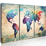 IMAGE PRINTED ON CANVAS + 3 pieces + world map + Ready to hang + 020113-47 + 60x40 cm +++ Many other patterns and sizes in our shop +++