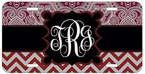 personalized-monogrammed-chevron-red-grey-ornamental-license-plate-auto-tag