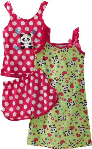 Girls 3 Piece Panda Pyjama Set in Pink