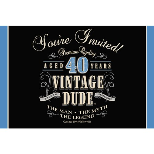 Creative Converting Vintage Dude 8 Count 40th Birthday Party Invitations