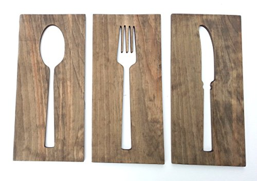 Kitchen Art Fork Spoon Knife Wooden Wall Plaques Modern Home Decor (Fork Spoon Art compare prices)