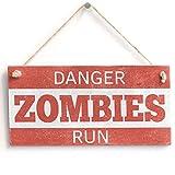 'Danger Zombies Run' - Handmade Shabby Chic Wooden Sign / Plaque