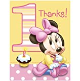 Disney Minnie's 1st Birthday Thank-You Notes (8) Party Supplies