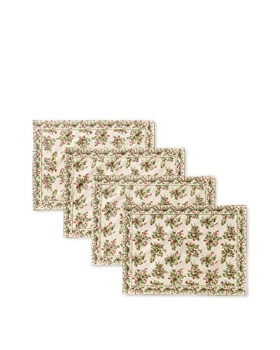 April Cornell Set of 4 Holly Placemats, Ecru