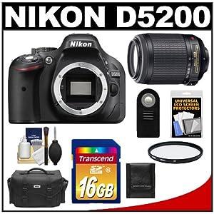 Nikon D5200 Digital SLR Camera Body (Black) with 55-200mm VR Zoom Lens + 16GB Card + Case + Filter + Remote + Accessory Kit
