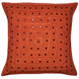Jaipuri Hand Art Mirror Work Desgin Cotton Single Cushion Cover 16x16 Inches Mother's Day Gift