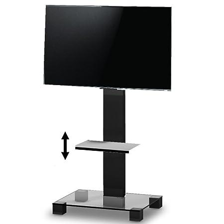 Ro & Co P1801TN Podium de TV avec étagère réglable en hauteur. Verre Transparent/châssis de couleur noir. Hauteur 180cms.