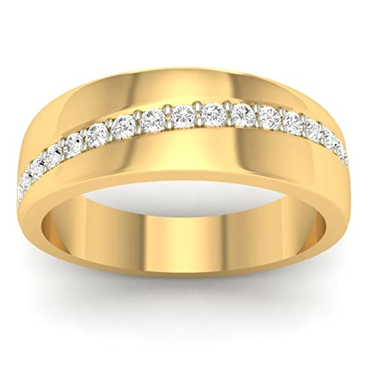 18K Yellow Gold 0.23cttw Round-Cut-Diamond (F-G Color, VS Clarity) Diamond Ring
