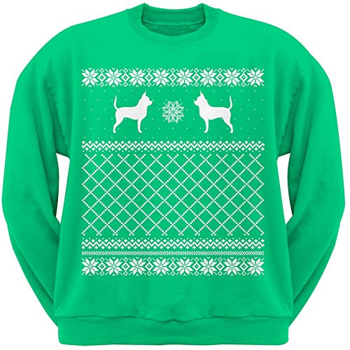 Chihuahua Green Adult Ugly Christmas Sweater Crew Neck Sweatshirt - Large