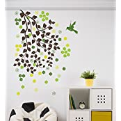 Decals Design 'Branches With Leaves Flowers And Bird Home' Wall Sticker (PVC Vinyl, 50 Cm X 70 Cm)