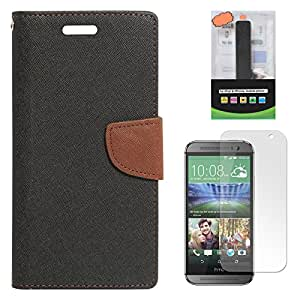 DMG Diary Wallet Flip Cover Case for HTC One M8 (Black Brown) + 2600 mAh PowerBank + Matte Screen