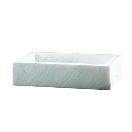 Marble Rectangular Block Vessel Bowl in White Cloudy