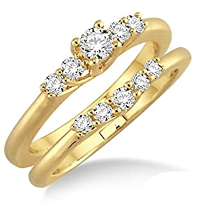 Affordable 0.50 Carat Bridal Set with Round Cut Diamond in 10k Yellow Gold