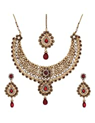 Shahenaz Jewellers 24 Ct Gold Plated Bridal Jewellery Set With CZ And Marquis Stones For Women - B00R2IOTF0