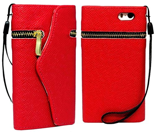 Mylife Bright Red {Fancy Zipper Design} - Textured Koskin Faux Leather (Card And Id Holder + Magnetic Detachable Closing) Slim Wallet For Iphone 5/5S (5G) 5Th Generation Smartphone By Apple (External Rugged Synthetic Leather With Magnetic Clip + Internal