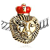 Mothers Day Gifts Pugster 22k Golden Plated Lion King Red Drip Crown European Beads Fits Pandora Charm Bracelet
