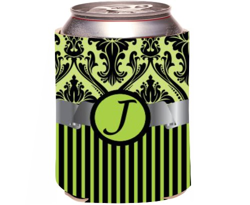 "Rikki Knight Beer Can Soda Drinks Cooler Koozie, Letter ""J"" Initial Monogrammed Design, Damask And Stripes, Lime Green front-600801"