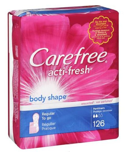 Carefree Acti-fresh Body Shape Pantiliner, Regular to Go, Unscented - 126 Count