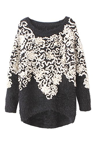 Pink Wind Womens Round Collar Sweaters Vintage Floral Pattern Fuzzy Cardigan