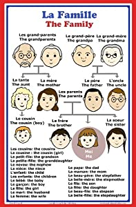 French Language School Poster: French words about family members with