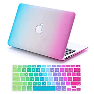 "IDACA Rainbow Hard Shell Case Cover for Macbook Air 13"" 13.3"" A1369 & A1466 and 2014 New Macbook Air 13"" with Silicone Keyboard Cover (USA KEYBOARD VERSION)"