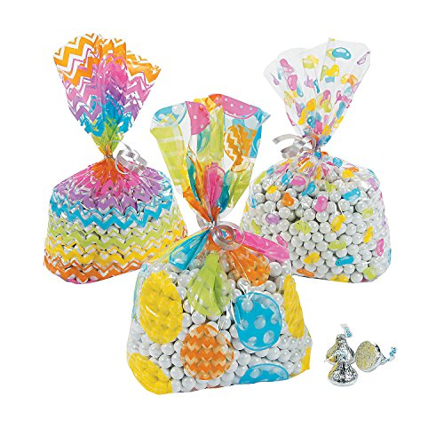 12 Easter Egg Themed Cello Party Gift Basket Favor Bags - Assorted Designs