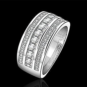 Fashion 925 Silver Beautiful Jewelry Cubic Zirconia Crystal Engagement Wedding Ring Band(O) by NYKKOLA