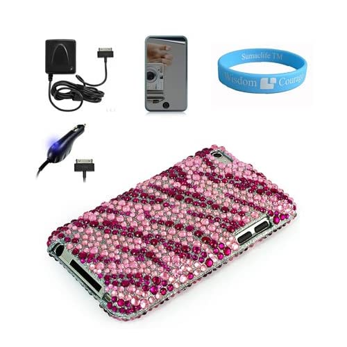 Attractive Pink Zebra Rhinestone Filled Cover for Latest 4th Gen Apple iPod Touch + Cellet Car Charger for iPod Touch 4G + Cellet Wall Charger + Mirror Screen Protector + Wristband