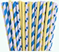 Blue and Yellow Polka Dot and Stripe Paper Straws -Birthday Wedding or Baby Shower Party Supply 100%Biodegradable 7.75 Inches Pack of 100