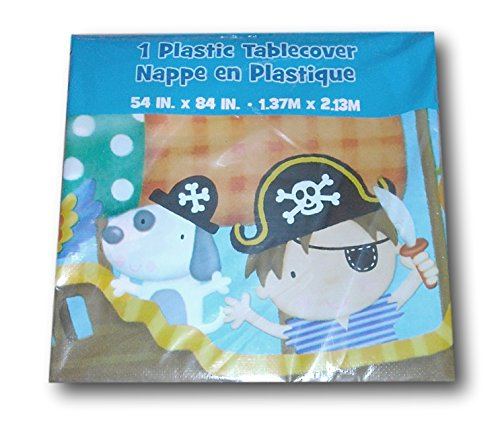 Little Boy Pirate Themed Plastic Tablecover - 54 inches x 84 inches - 1