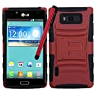 LG Showtime Red on Black Advanced Armor Case with stand Optimus L86C/L86G with Stylus