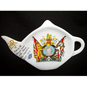 H M Queen Elizabeth II Diamond Jubilee Coat Of Arms 1952-2012 Tea Bag Tidy / Spoon Rest