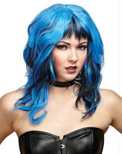 Wig Hard Rockin Witch Black Blue Costume Item