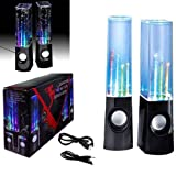 Wayzon Black Water Dancing Music Fountain Portable Audio LED Stereo 3.5mm Speakers For LG Optimus Black P970 / Chat C550 / Chic E720 / Elite LS696