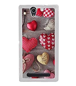 Hearts 2D Hard Polycarbonate Designer Back Case Cover for Sony Xperia C3 Dual :: Sony Xperia C3 Dual D2502