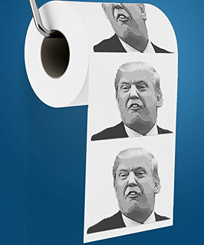 Donald Trump Toilet Paper, Includes FREE Donald Trump Joke eBook & Dump Trump Bumper Sticker, Hilarious Novelty Toilet Paper, Best Gag Gift Political Gifts for Democrats & Republicans.