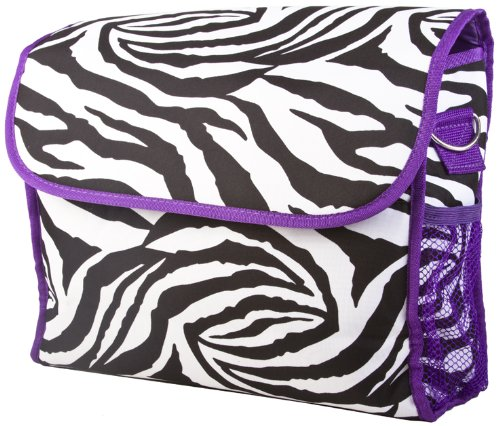 Ever Moda Purple Zebra Diaper Bag With Change Pad