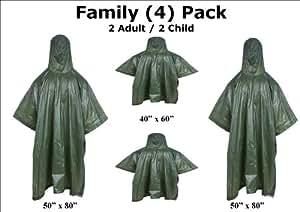 Amazon.com: Rain Ponchos Family 4 Pack Heavy Duty 10 Mil