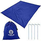 Beach Blanket with Accessories: Nylon Tote Pouch & 4 Stakes / Pegs - Also Used as Outdoor Camping Gear, Oversized Mat, Shade Tarp and Picnic Throw (Royal Blue, Medium)