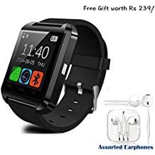 Byond B66 Compatible and Certified Combo of high quality earphones with Mic and Smart Android OS U8 Watch and Activity Wristband with Wireless Bluetooth Connectivity ( Get Mobile Charging Cable worth Rs 239 FREE & 180 days Replacement Warranty )