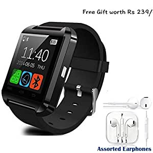 Lava Iris 408e Compatible and Certified Combo of high quality earphones with Mic and Smart Android OS U8 Watch and Activity Wristband with Wireless Bluetooth Connectivity ( Get Mobile Charging Cable worth Rs 239 FREE & 180 days Replacement Warranty )