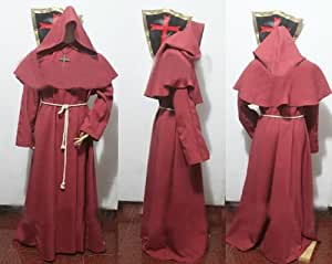 Red Monk Robe and Hood Costume. Wizard, Priest, Mage, or Cardinal Robe,Sorcerer Mage or Priest costume, Christian Jesus costume,Size L(Fit for height 170cm-182cm /5'7-6' )