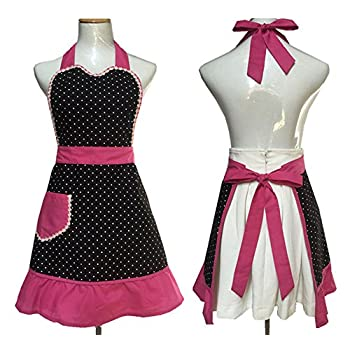 Cute Lovely Black Lace Aprons with Pocket for Women Girls Vintage Aprons Kitchen Cooking Apron