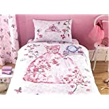 GIRLS PINK PRINCESS & BUTTERFLIES COTBED/TODDLER/JUNIOR DUVET SET ~ 120x150 ~ GIRLS BEDDING