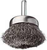 """Weiler Stem-Mounted Wire Cup Brush, Round Shank, Steel, Crimped Wire, 1-3/4"""" Diameter, 0.006"""" Wire Diameter, 1/4"""" Shank, 3/4"""" Bristle Length, 13000 rpm (Pack of 1)"""