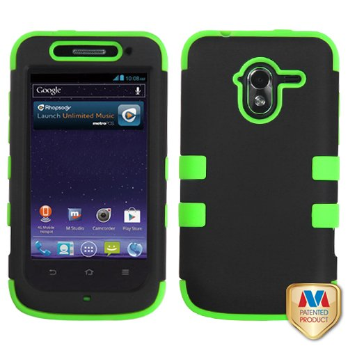 Fits Zte N9120 Avid 4G Hard Plastic Snap On Cover Rubberized Black Electric Green Tuff Hybrid Metropcs